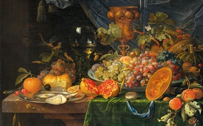Picture oil, picture, canvas, Still life with Fruit and Oysters, Abraham Mignon