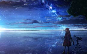 Picture ice, girl, lake, the milky way, telescope