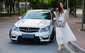 Picture auto, look, smile, Girls, Mercedes, journal, beautiful girl, .Asian
