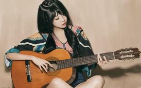 Wallpaper Sitting, Beautiful, Brunette, Beauty, Sitting, Look, Girl, Asian, Woman, Guitar, Girl, Figure, Look, Guitar, Brunette, ...