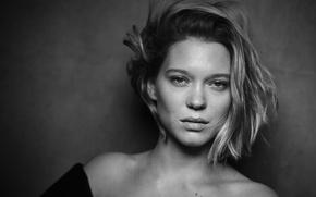Picture portrait, actress, hairstyle, black and white, Pirelli, Lea Seydoux, Lea Seydoux, Peter Lindbergh