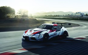 Picture the sky, light, mountains, vegetation, speed, track, turn, Toyota, 2018, racing car, GR Supra Racing …