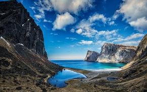 Picture sea, clouds, mountains, rocks, Iceland, Lofoten, Vestervika