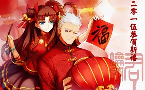 Picture art, two, Rin, Archer, Fate stay night, Fate / Stay Night