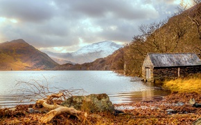 Picture mountains, lake, house, Wales, Snowdonia, Llyn Dinas