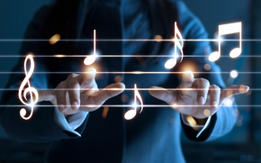 Wallpaper stave, musical instrument, music, bokeh wallpaper., good idea, tool, classic, woman, conductor, treble clef, playing ...