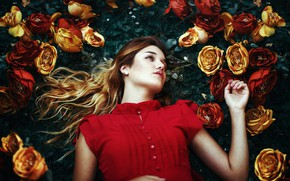 Wallpaper flowers, pose, mood, girl, Fernanda Finsterbush, roses