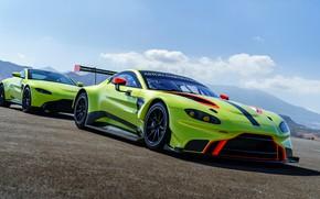 Picture Aston Martin, Vantage, pair, racing car, 2018, blue sky, GTE