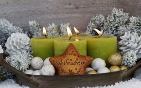 Picture decor, new year, holiday, candles