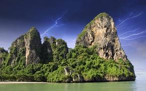 Picture sea, the storm, the sky, the sun, trees, clouds, tropics, rocks, shore, zipper, Thailand