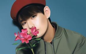 Picture flower, guy, BTS, BangTan Boys, Kim Tae Hyung, Bulletproof Boy Scouts, by Yunhosbambi