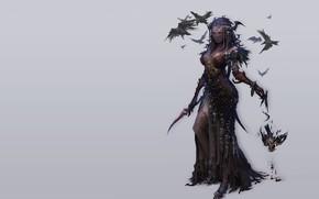Picture girl, death, fantasy, art, Raven, veil, siren, Keunju Kim