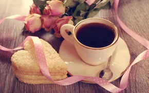 Wallpaper holiday, heart, coffee, roses, cookies, spoon, tape, Cup, Valentine's day