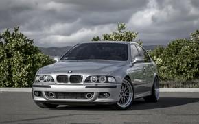 Wallpaper Bavaria, E39, BMW, Classic, Silver