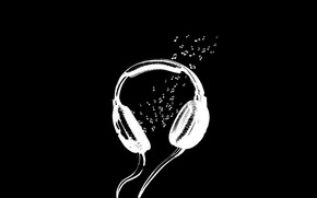 Picture notes, background, black, headphones