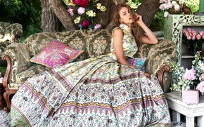 Picture girl, flowers, pose, style, hair, skirt, fashion, fashion