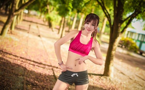 Picture girl, sport, costume, walk, hobby