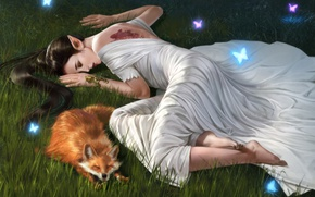 Wallpaper Fiction, Butterfly, Sleep, Girl, Fox, Elf, Fox