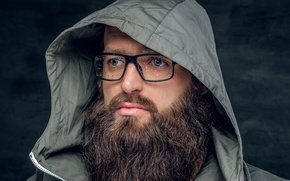 Picture glasses, Beard, drops of water, raincoat, windbreaker