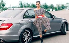 Picture look, smile, Girls, belt, Mercedes, Asian, beautiful girl, grey car