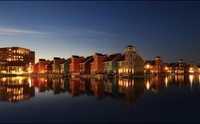 Picture the sky, lights, home, stars, the evening, Netherlands, skyline, Holland, Groningen