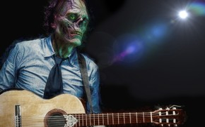 Wallpaper Zombies, Halloween, guitar