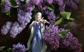 Picture girl, figurine, lilac, violinist