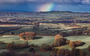 Picture autumn, hills, England, panorama, Dousland