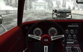 Picture car, corvette, game, muscle car, old, estrada, chuva