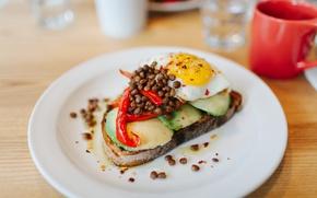 Picture coffee, food, Breakfast, scrambled eggs, sandwich, avocado
