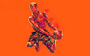 Picture the game, the ball, basketball, basketball player, low poly