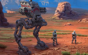 Picture mountains, desert, robot, Star Wars, soldiers