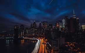 Picture skyscrapers, Brooklyn bridge, promenade, New York, usa, night city lights