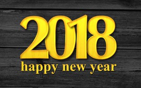 Wallpaper text, holiday, figures, the number, 2018, Happy New Year