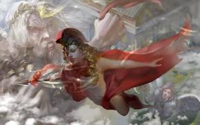Picture fantasy, magic, digital art, artwork, warrior, fantasy art, goddess, Zeus, cloak, Athena, mythology, god, pearls, …