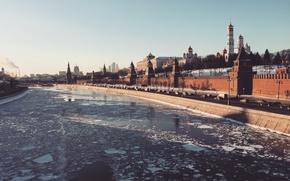 Picture city, river, winter, snow, moscow, cityscape, kremlin, aristovart