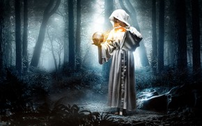 Picture forest, girl, fantasy, magic, magic, ball, the situation, hood, Bathrobe