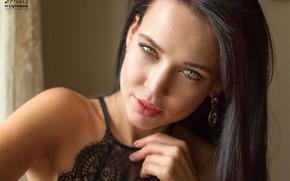 Picture look, sexy, model, portrait, makeup, brunette, hairstyle, beauty, bokeh, Angelina Petrova, Angelina Petrova, Mladen Dakic