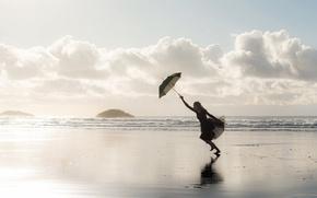 Picture sea, girl, shore, umbrella, Beach Ballerina