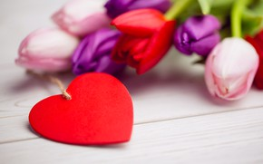 Picture love, flowers, heart, bouquet, colorful, tulips, red, love, white, heart, wood, flowers, romantic, tulips, spring, …
