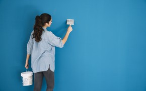 Picture girl, wall, paint, repair