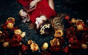 Picture girl, flowers, sleep, crown, book, Ronny Garcia, My wonderland
