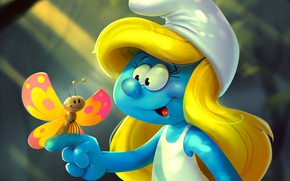 Picture butterfly, art, children's, Smurfette, Katya Art