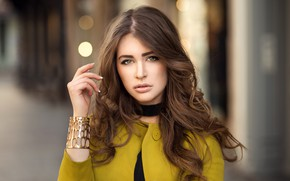 Picture look, pose, glare, background, model, hand, portrait, makeup, hairstyle, bracelet, brown hair, beauty, Melissa, bokeh, ...
