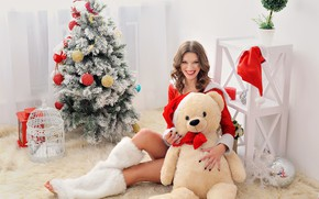 Picture girl, smile, style, room, model, toy, tree, bear, maiden
