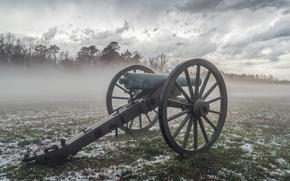Wallpaper field, gun, fog