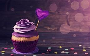 Picture glare, background, the sweetness, cake, heart, Valentine's day, cream, cupcake, rosette, cupcake