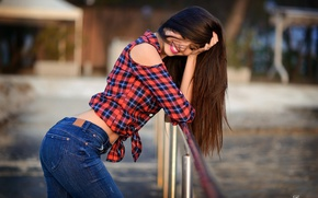 Wallpaper girl, pose, jeans, makeup, hairstyle, railings, shirt, brown hair, is, bokeh, smiling, Giovanni Zacche