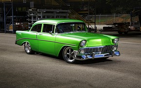 Picture green, Chevrolet, Bel Air, custom, 1956, classic car