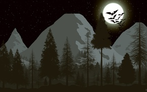 Picture forest, the sky, stars, mountains, the moon, tree, moon, bats, forest, picture, sky, stars, picture, ...